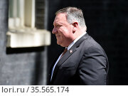 Mike Pompeo in Downing Street, London; 21-07-2020. Pompeo is an American... Редакционное фото, агентство World History Archive / Фотобанк Лори