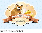 Label with cow, milk, cheese and butter. Vector illustration EPS8. Стоковое фото, фотограф Zoonar.com/yunna gorskaya / easy Fotostock / Фотобанк Лори