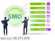 Social media optimisation concept with businessman. Стоковое фото, фотограф Elnur / Фотобанк Лори