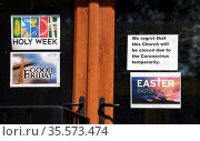 Photograph of signs posted by a church regarding it's closure during the COVID-19 pandemic. Редакционное фото, агентство World History Archive / Фотобанк Лори