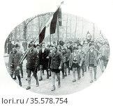 Nazi party Rally in a German town c1922. Редакционное фото, агентство World History Archive / Фотобанк Лори