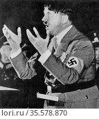 Adolph Hitler (1889-1945), German dictator, addressing a rally Nazi... Редакционное фото, агентство World History Archive / Фотобанк Лори