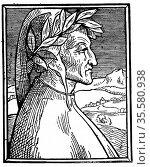Dante Alighieri (1265-1321)  Italian poet.  Woodcut portrait published... Редакционное фото, агентство World History Archive / Фотобанк Лори