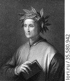 Dante Alighieri (1265-1321)  Italian poet. Portrait engraving. Редакционное фото, агентство World History Archive / Фотобанк Лори