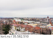 Panoramic view of the city of Budapest and the Danube from Fishermen's bastion. Стоковое фото, фотограф Николай Коржов / Фотобанк Лори