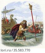 Romans invading Britain: Standard Bearer of the 10th Legion bringing... Редакционное фото, агентство World History Archive / Фотобанк Лори