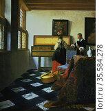 'Woman at a virginal, with a man'.  Jan Vermeer (1632-1675) Dutch... Редакционное фото, агентство World History Archive / Фотобанк Лори