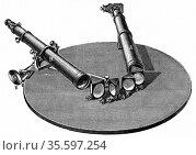Spectroscope, 1872.  Instrument of the type developed by Robert Bunsen... Редакционное фото, агентство World History Archive / Фотобанк Лори