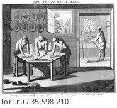 Making beaver hats, 1750. Although called beaver, little or no beaver... Редакционное фото, агентство World History Archive / Фотобанк Лори
