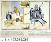 Potato peeler, 1900. Machine for washing, peeling and removing eyes... Редакционное фото, агентство World History Archive / Фотобанк Лори