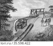 Inclined plane powered by water wheel in use on a canal.  The inclined... Редакционное фото, агентство World History Archive / Фотобанк Лори