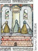 Distillation 1500.  Three alembics stand on top of furnace. The distillate... Редакционное фото, агентство World History Archive / Фотобанк Лори