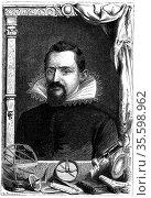 Johannes Kepler (1571-1630) German astronomer. Wood engraving, Paris... Редакционное фото, агентство World History Archive / Фотобанк Лори