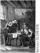 Johannes Kepler (1571-1630) German astronomer, left, with Tycho Brahe... Редакционное фото, агентство World History Archive / Фотобанк Лори