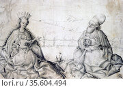 Virgin and Child with St Paul'.  Swiss Master c1450. Pen, black ink... Редакционное фото, агентство World History Archive / Фотобанк Лори