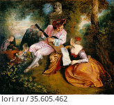 La Gamme d'Amour (The Scale of Love): In a wooded landscape a man... Редакционное фото, агентство World History Archive / Фотобанк Лори