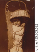 An Apache infant in cradleboard, c1903.  Photograph by Edward Curtis... Редакционное фото, агентство World History Archive / Фотобанк Лори