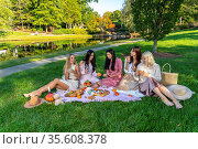 A group of beautiful women enjoy a picnic on a fall day outdoors. Стоковое фото, фотограф Zoonar.com/Walter G Arce Sr ASP Inc / easy Fotostock / Фотобанк Лори