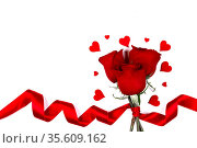 Valentines day hearts and red rose flowers isolated on white background... Стоковое фото, фотограф Zoonar.com/Ivan Mikhaylov / easy Fotostock / Фотобанк Лори