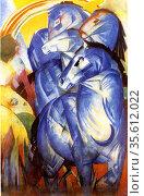 der-turm-der-blauen-pferde 1913, by  Franz Marc 1880 -1916, German... Редакционное фото, агентство World History Archive / Фотобанк Лори