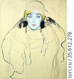 Frauen Kopf' (Head of a Woman) 1917-1918. Oil on wood by Gustav Klimt... Редакционное фото, агентство World History Archive / Фотобанк Лори
