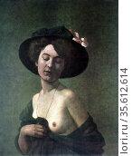 Portrait of a Woman' 1908. Oil on canvas.  Felix Edouard Vallotton... Редакционное фото, агентство World History Archive / Фотобанк Лори