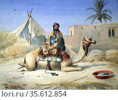 A Bedouin beside his Camel, probably in Egypt', c1836-1843.  Watercolour... Редакционное фото, агентство World History Archive / Фотобанк Лори