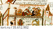Bayeux Tapestry 1067. Death of Edward the Confessor, King of England... Редакционное фото, агентство World History Archive / Фотобанк Лори