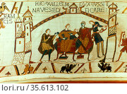 Bayeux Tapestry 1067. William of Normandy (William the Conqueror) ... Редакционное фото, агентство World History Archive / Фотобанк Лори