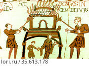 Bayeux Tapestry 1067:  A pictorial narrative account of the conquest... Редакционное фото, агентство World History Archive / Фотобанк Лори