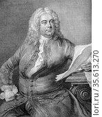 George Frederic Handel (1685-1759) German-born English Baroque composer... Редакционное фото, агентство World History Archive / Фотобанк Лори