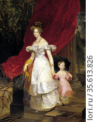 Grand Duchess Elena Pavlovna with her daughter Maria, 1830. Oil on... Редакционное фото, агентство World History Archive / Фотобанк Лори