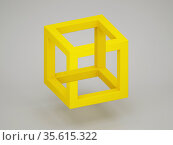 Popular optical illusion with paradoxical yellow cube over light gray background. 3d. Стоковая иллюстрация, иллюстратор EugeneSergeev / Фотобанк Лори