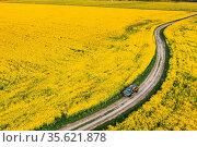 Gomel, Belarus Aerial View Of Renault Duster Car SUV Parked Near Countryside... Стоковое фото, фотограф Ryhor Bruyeu / easy Fotostock / Фотобанк Лори