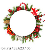 Christmas white blank circle card with copy space and decor of fir... Стоковое фото, фотограф Zoonar.com/Ivan Mikhaylov / easy Fotostock / Фотобанк Лори