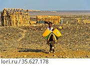 Kleiner Junge mit Esel und Wasserkanistern auf dem Weg zur Wasserstelle... Стоковое фото, фотограф Zoonar.com/Georg_A / age Fotostock / Фотобанк Лори