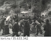 Colliery explosion at Llanerch, Monmouthshire, Wales, 1890. The midnight shift waiting to go down the shaft to recover bodies. Редакционное фото, агентство World History Archive / Фотобанк Лори