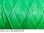 Pattern of twisted green polypropylene cord. Стоковое фото, фотограф EugeneSergeev / Фотобанк Лори