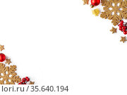 Christmas background on the white background. Copy space. Winter holidays... Стоковое фото, фотограф Zoonar.com/Serghei Platonov / easy Fotostock / Фотобанк Лори