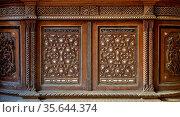 Two arabesque sashes of an old mamluk era cupboard with geometrical... Стоковое фото, фотограф Zoonar.com/Khaled ElAdawy / easy Fotostock / Фотобанк Лори