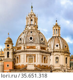 Detail dome view of Santa Maria di Loreto church at Rome city, Italy. Стоковое фото, фотограф Zoonar.com/Daniel Ferreira-Leites Ciccarino / easy Fotostock / Фотобанк Лори