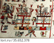The Codex Zouche-Nuttall is an accordion-folded pre-Columbian piece... Редакционное фото, агентство World History Archive / Фотобанк Лори