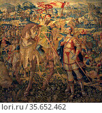 Godefroy de Bouillon.  Similar in design to the King David tapestry... Редакционное фото, агентство World History Archive / Фотобанк Лори