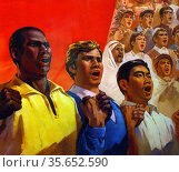 Workers of the World Unite!  Designed by the amateur artists group... Редакционное фото, агентство World History Archive / Фотобанк Лори