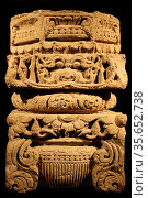 Pillar capital. Sandstone, Uttar Pradesh, AD900-1100.  This pillar... Редакционное фото, агентство World History Archive / Фотобанк Лори