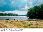Danube river park in Devin, Slovakia. Стоковое фото, фотограф Zoonar.com/Sanga Park / easy Fotostock / Фотобанк Лори