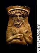 Terracotta proteome or bust of the god Dionysus Greek 380-360 BC. ... Редакционное фото, агентство World History Archive / Фотобанк Лори