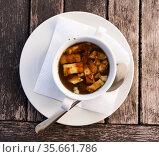 Soup with veal and pasta. Стоковое фото, фотограф Яков Филимонов / Фотобанк Лори