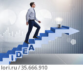 Concept of idea with businessman climbing steps stairs. Стоковое фото, фотограф Elnur / Фотобанк Лори