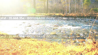 Dolly slider shot of the splashing water in a mountain river near forest. Wet rocks and sun rays. Horizontal steady movement.